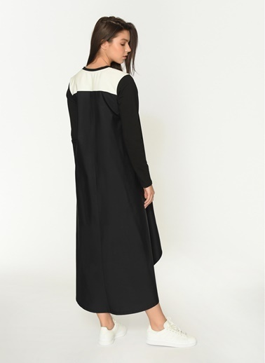 Loves You A Form Arkası Poplin Sweat Elbise Siyah